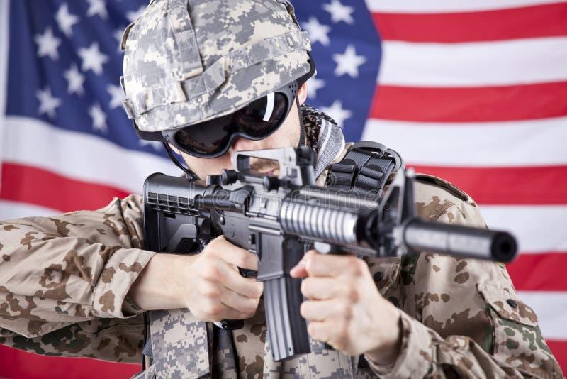 Het Amerikaanse militair ontspruiten stock foto