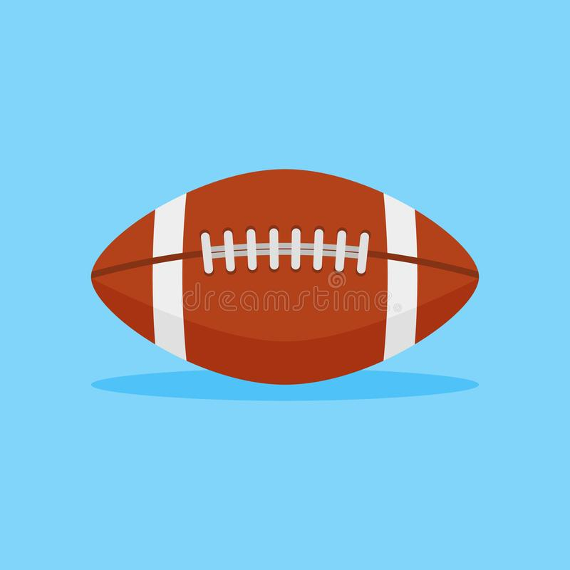 Het Amerikaanse pictogram van de voetbal vlakke stijl De vectorillustratie van de rugbybal stock illustratie
