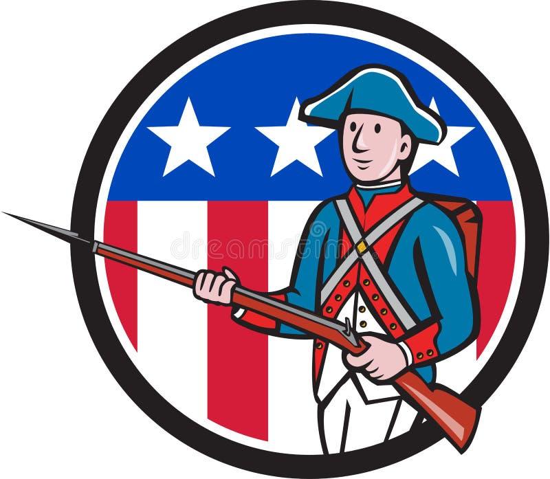 Het Amerikaanse Revolutionaire Beeldverhaal van de de Vlagcirkel van de Militairv.s. royalty-vrije illustratie