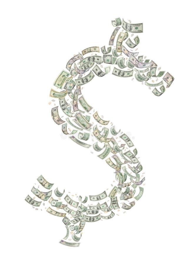 Het Amerikaanse Symbool van de Dollar van het Geld stock afbeelding