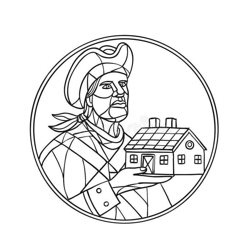 Het Amerikaanse Zwart-witte Mozaïek van het Patriothuis royalty-vrije illustratie