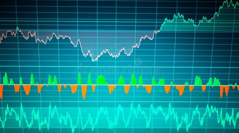 Het analyseren van financiële gegevens van grafieken en grafiek om het resultaat in handelmarkt te weten te komen stock illustratie