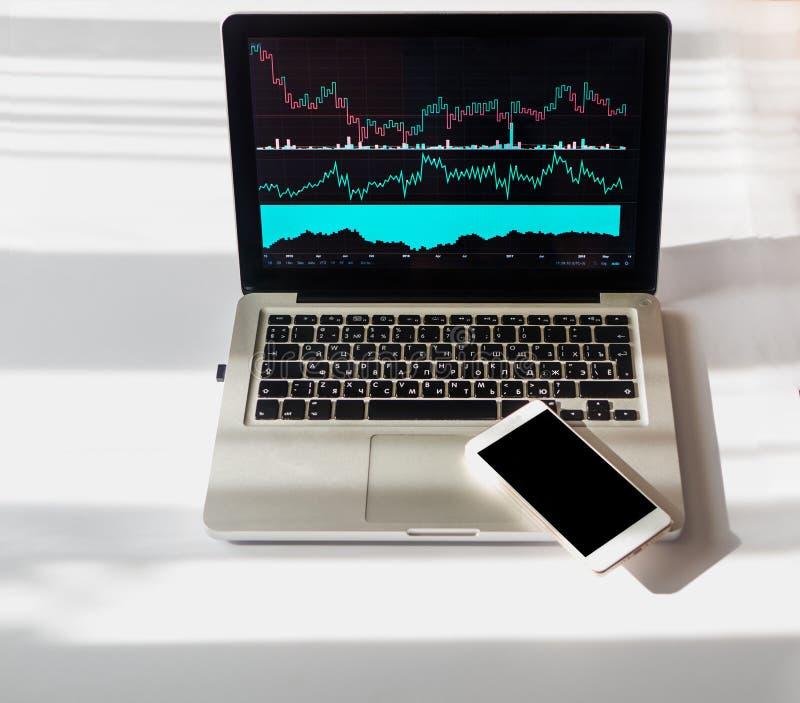 Het analyseren van investeringsgrafieken en grafieken op laptop Smartphone met het zwarte scherm Copyspace royalty-vrije stock foto's