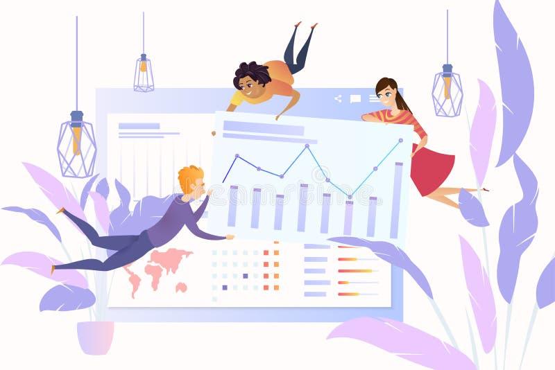 Het analyseren van het vectorconcept van bedrijfsstatistiekengegevens royalty-vrije illustratie