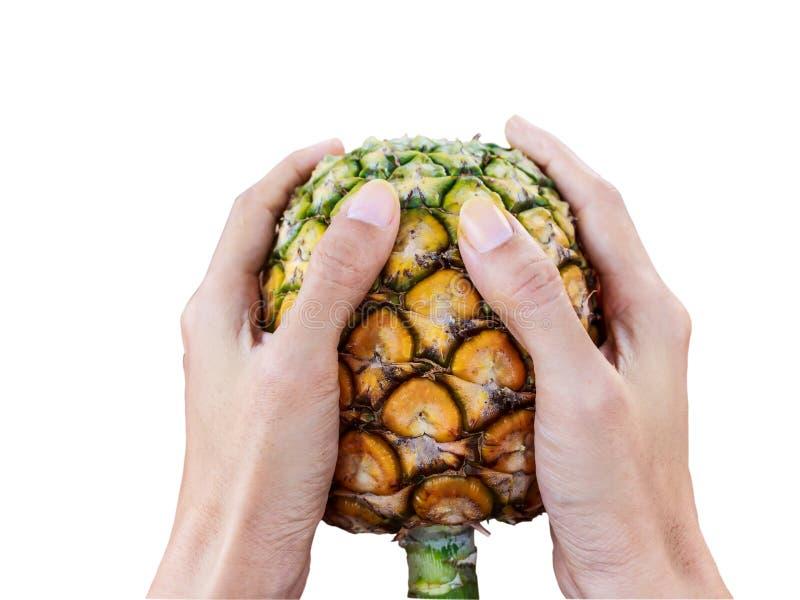 Het ananashandvat isoleert witte achtergrond met het knippen van weg stock foto's