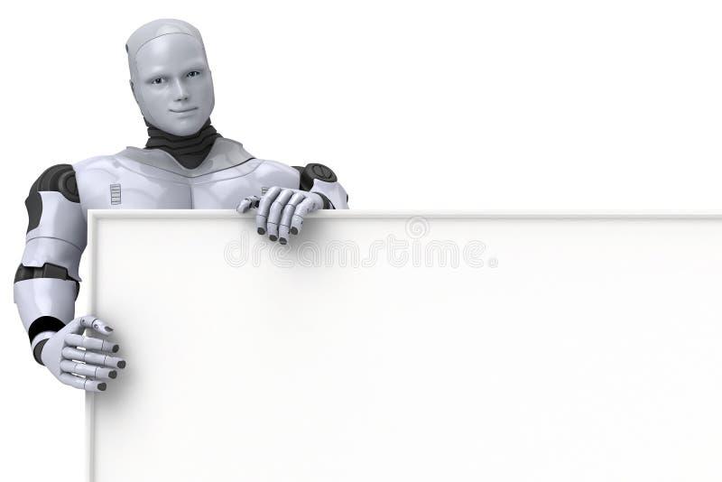 Het androïde Lege Teken van de Holding van de Robot stock illustratie