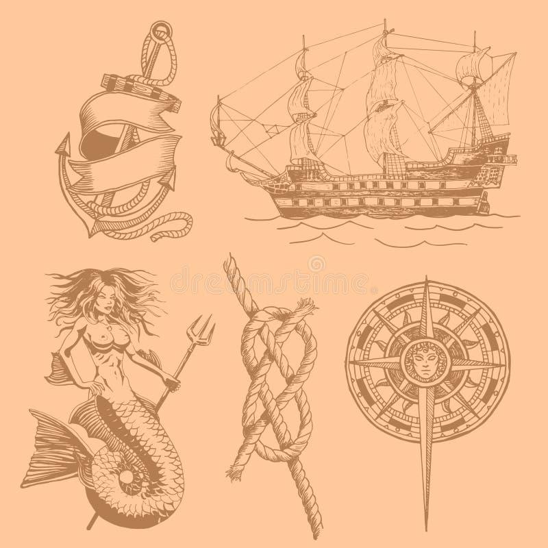 Het anker, meermin, nam van wind, knoop uitstekende tekening toe Vector vector illustratie