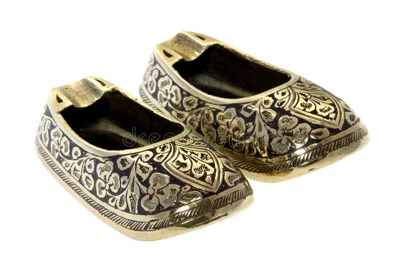 Het antieke Chinese Asbakje van de Schoen van het Messing stock foto