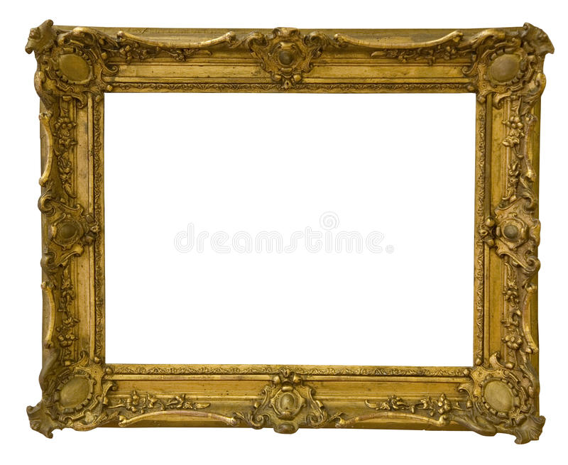 Het antieke die kader is zeer oud met barsten en ongelijk op witte achtergrond, met het Knippen van Wegen worden geïsoleerd royalty-vrije stock foto