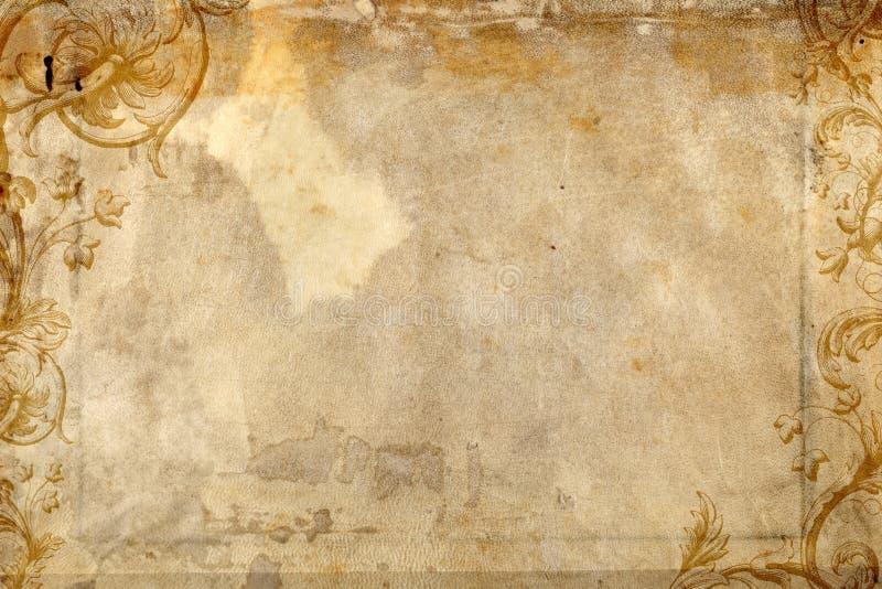 Het antieke document voorkomen bloeit ontwerp stock foto's