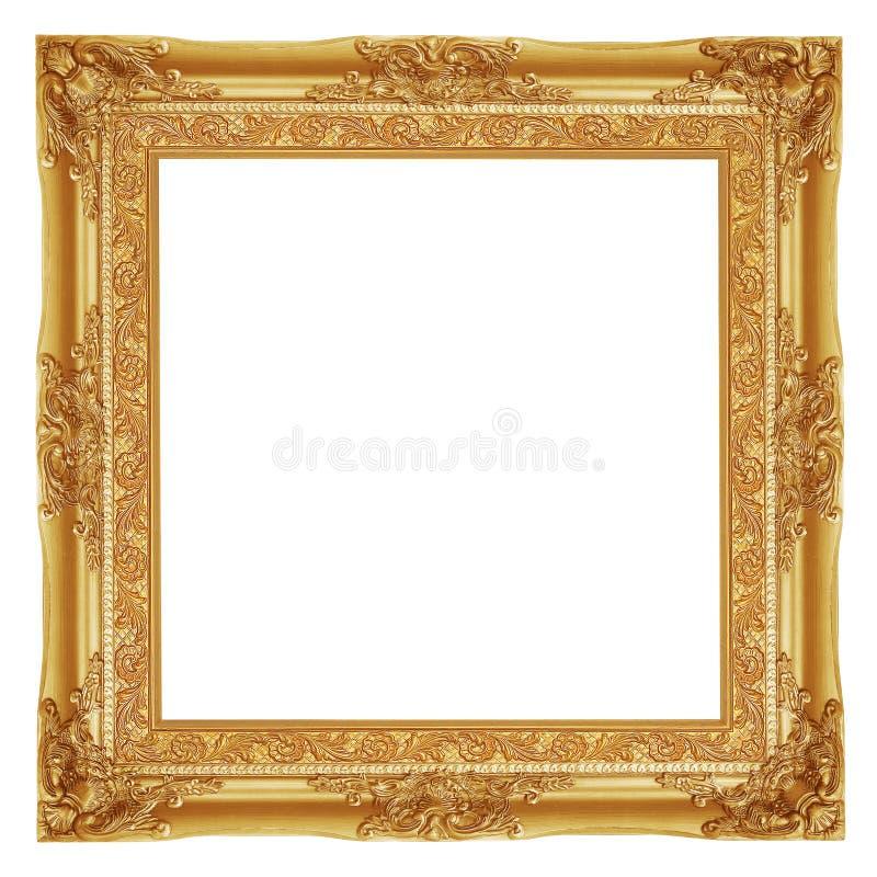 Het antieke gouden kader op de witte achtergrond royalty-vrije stock afbeeldingen