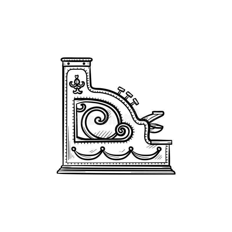 Het antieke pictogram van de het overzichtskrabbel van de kasregistermachine hand getrokken vector illustratie