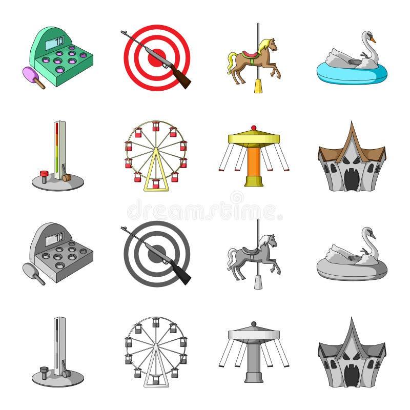 Het apparaat met een knuppel voor het meten van sterkte, ferris rijdt, een carrousel, een huis met vensters Pretparkreeks vector illustratie