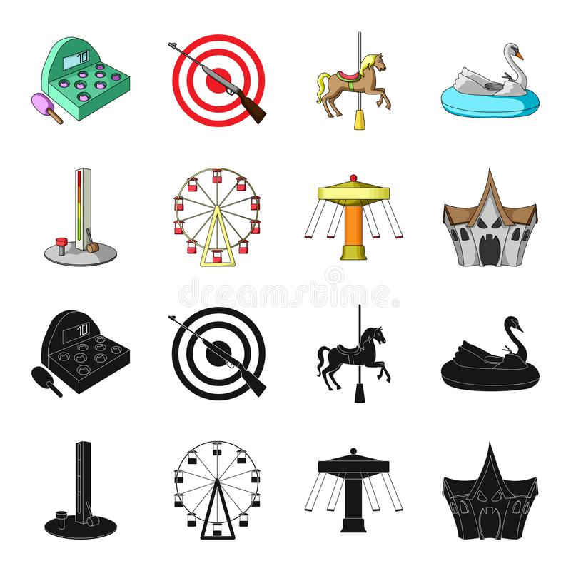 Het apparaat met een knuppel voor het meten van sterkte, ferris rijdt, een carrousel, een huis met vensters Pretparkreeks stock illustratie