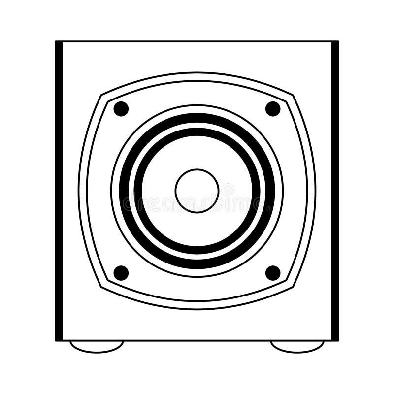 Het apparaat van de muziekspreker in zwart-wit wordt geïsoleerd die stock illustratie