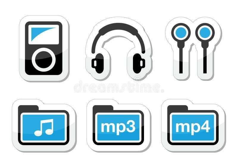 Mp3 geplaatste spelerpictogrammen stock illustratie