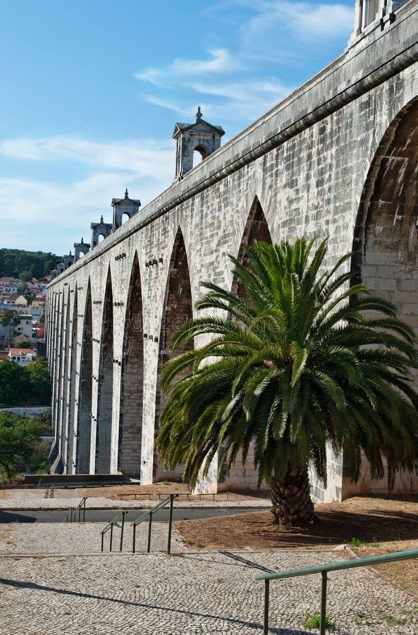 Het Aquaduct Aguas Livres stock fotografie