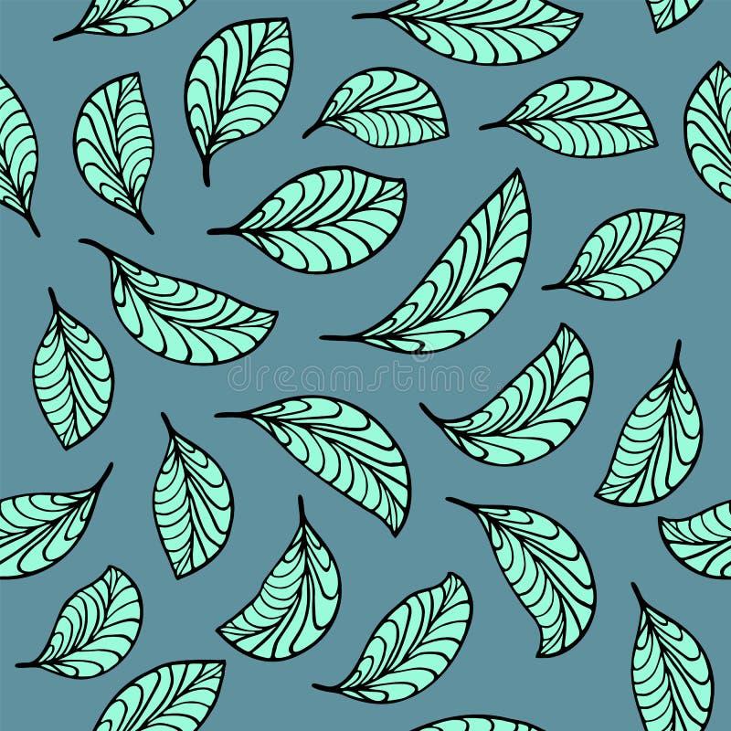 Het aquamarijn verlaat patroon vector illustratie