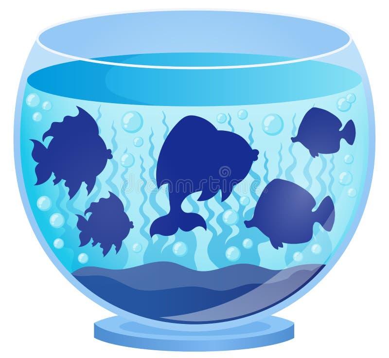 Het aquarium met vissen silhouetteert 2 stock illustratie