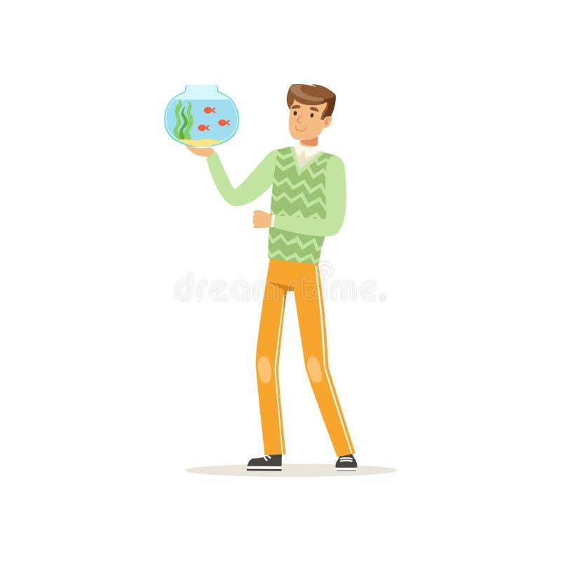 Het aquarium van de het glaskom van de jonge mensenholding met vissen Huisdier Beeldverhaal mannelijk karakter in groene sweater  royalty-vrije illustratie