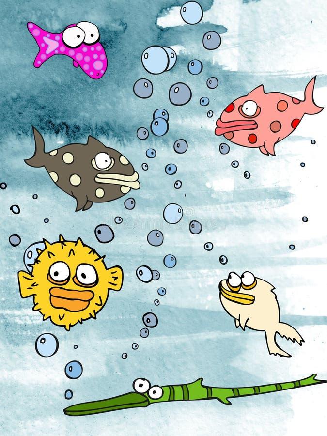 Het aquarium van de kleurenVissen van het water stock illustratie