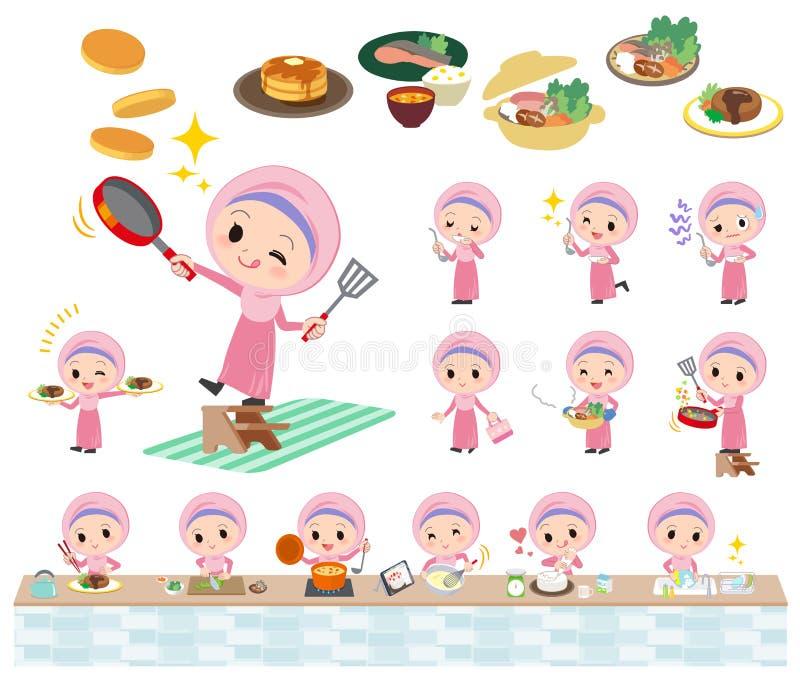 Het Arabische meisje koken stock illustratie