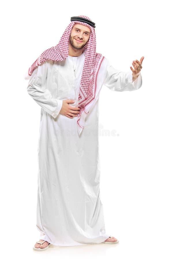 Het Arabische persoon welkom heten royalty-vrije stock afbeeldingen