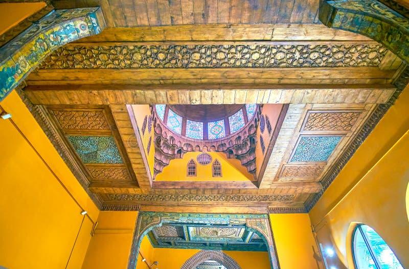 Het Arabische stijlplafond in Koptisch Museum in Kaïro, Egypte stock afbeeldingen