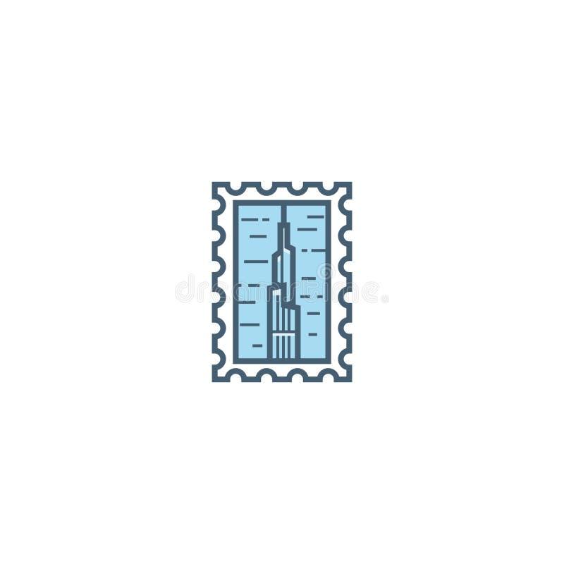 Het Arabische symbool van Doubai van Emiraten Het pictogram vectorembleem van de lijnzegel stock illustratie