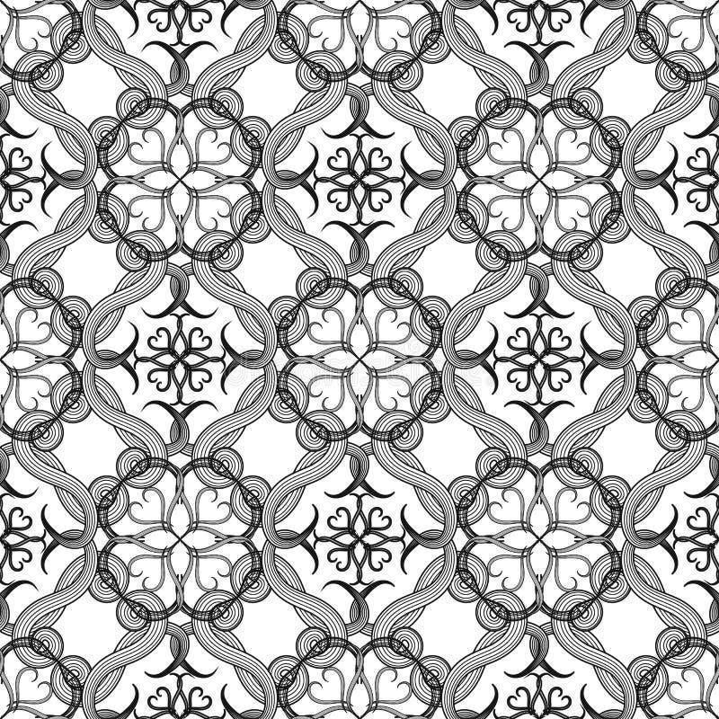 Het Arabische van de kunsttracery van de stijllijn vector naadloze patroon Sier zwart-witte arabesqueachtergrond Hand getrokken e royalty-vrije illustratie