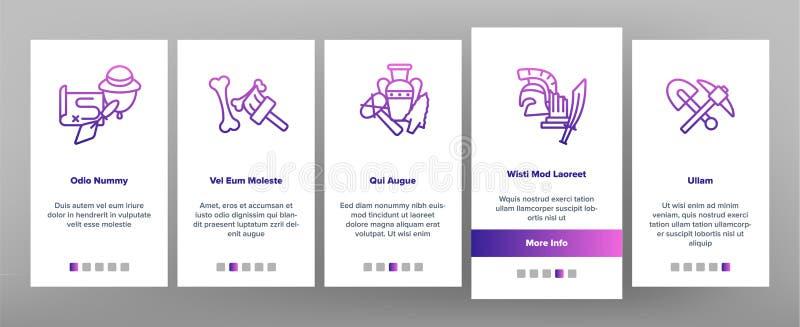 Het archeologische Hulpmiddelen en Uitgravingen Vectorscherm van de de Mobiele toepassingpagina van Onboarding stock illustratie