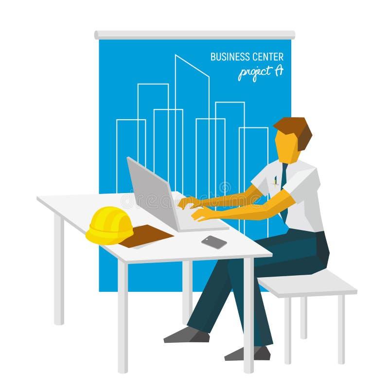 Het architectenwerk met laptop Grote blauwdruk bij de rug vector illustratie