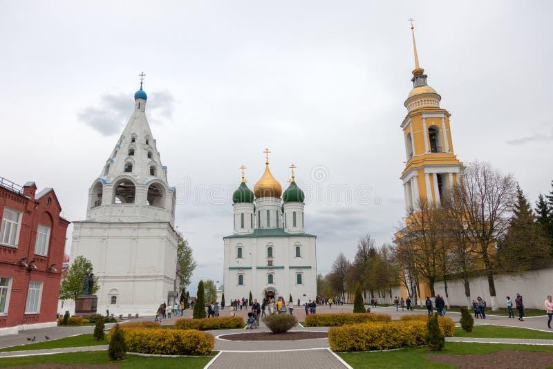 Het architecturale ensemble van het Kathedraalvierkant in Kolomna het Kremlin stock foto