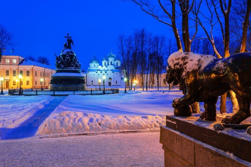 Het architecturale ensemble van Novgorod het Kremlin stock afbeelding