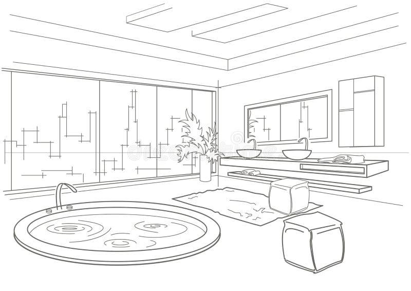 Het architecturale lineaire binnenland van de schetsbadkamers royalty-vrije illustratie