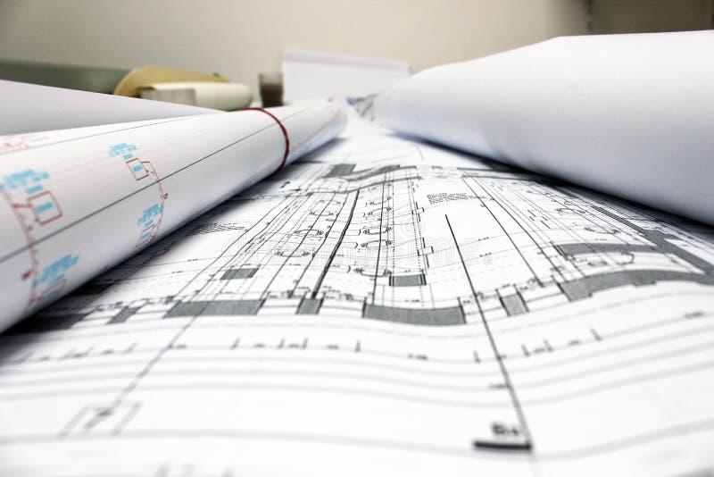 Het architecturale plannentekeningen bulding stock foto's