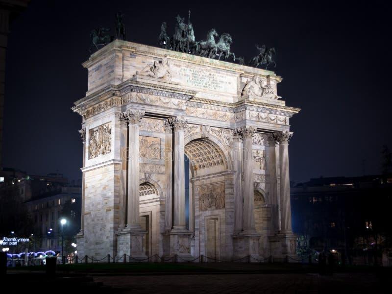 Het Arco dellatempo van Milaan stock fotografie