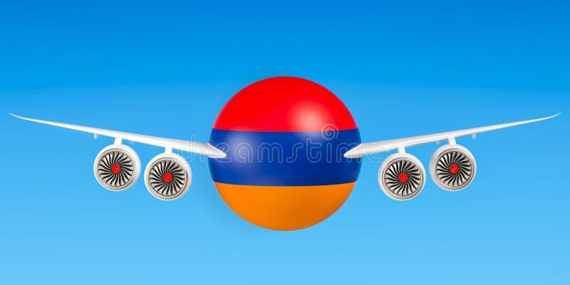 Het Armeense luchtvaartlijnen en vliegen, vluchten aan het concept van Armenië stock illustratie