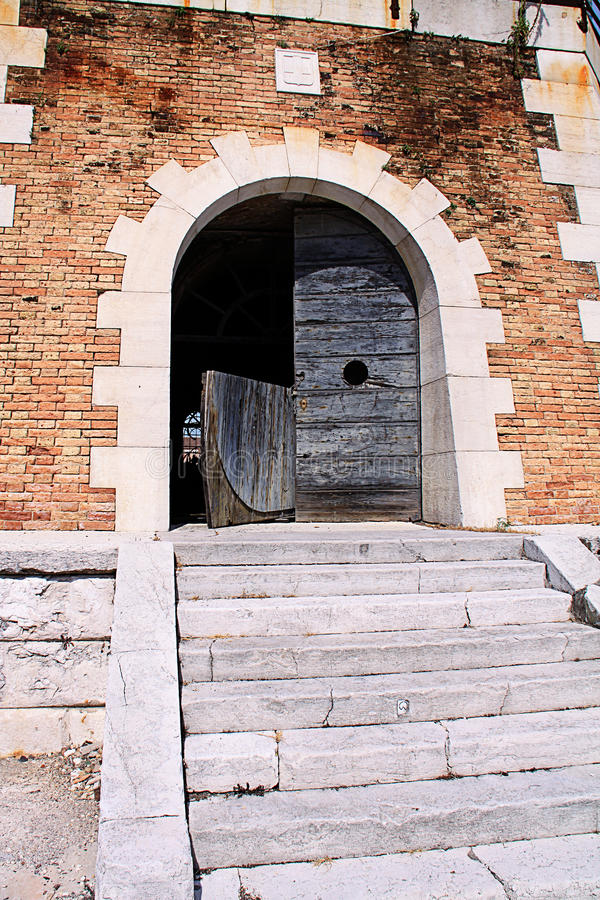 Het Arsenaal van Venetië, van Italië - van Venetië en oude hydrau van Armstrong Mitchell stock fotografie