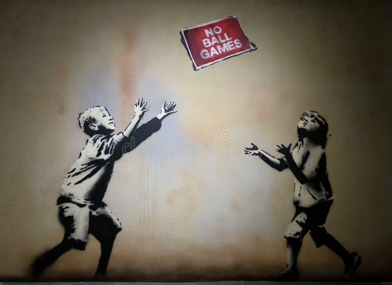 Het Art. van de Banskygraffiti De wereld van Bansky royalty-vrije illustratie