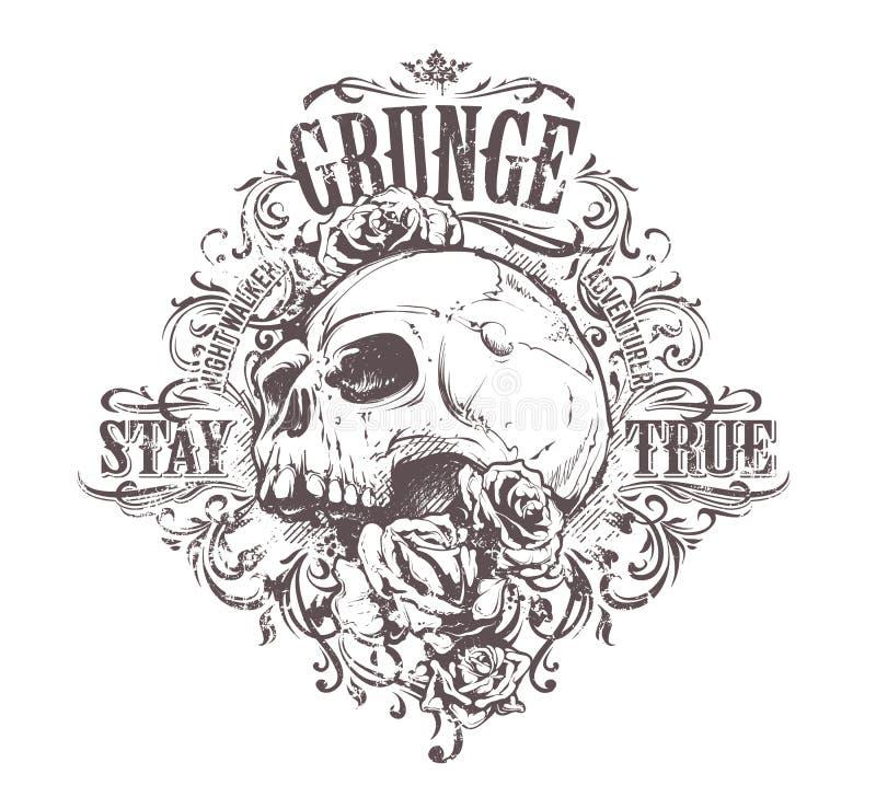 Het Art. van de Grungeschedel royalty-vrije illustratie
