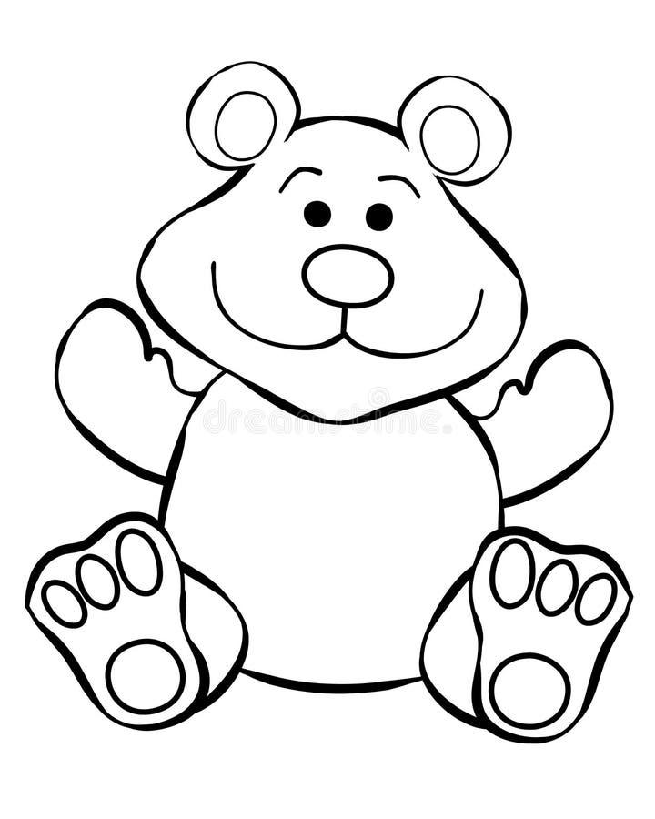 Het Art. van de Lijn van de teddybeer stock illustratie