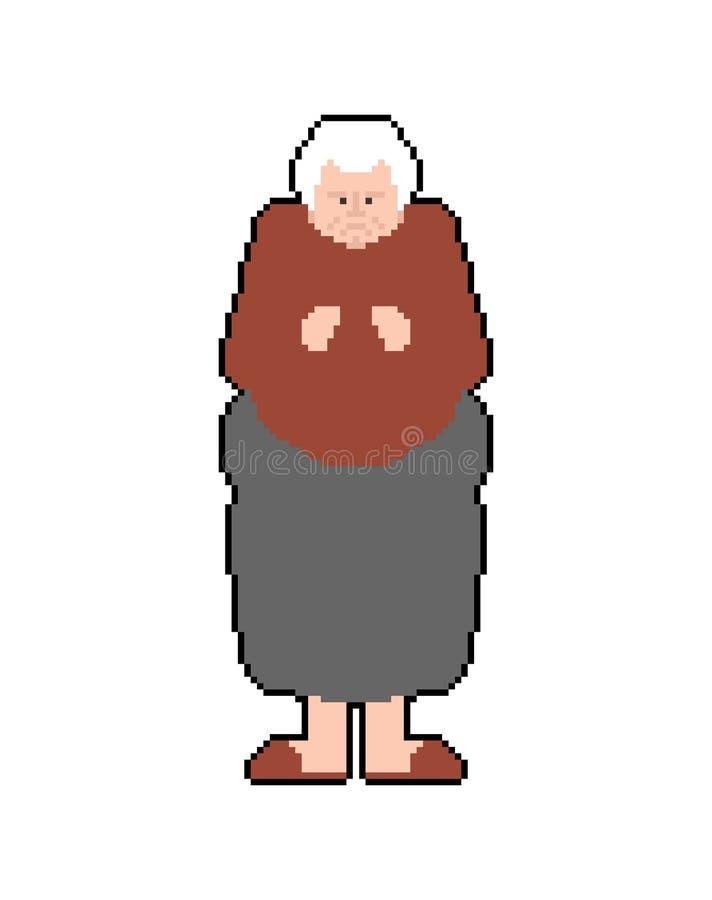Het art. van het grootmoederpixel De oma pixelated De oude grafiek van het dame Oude spel vectorillustratie met 8 bits vector illustratie