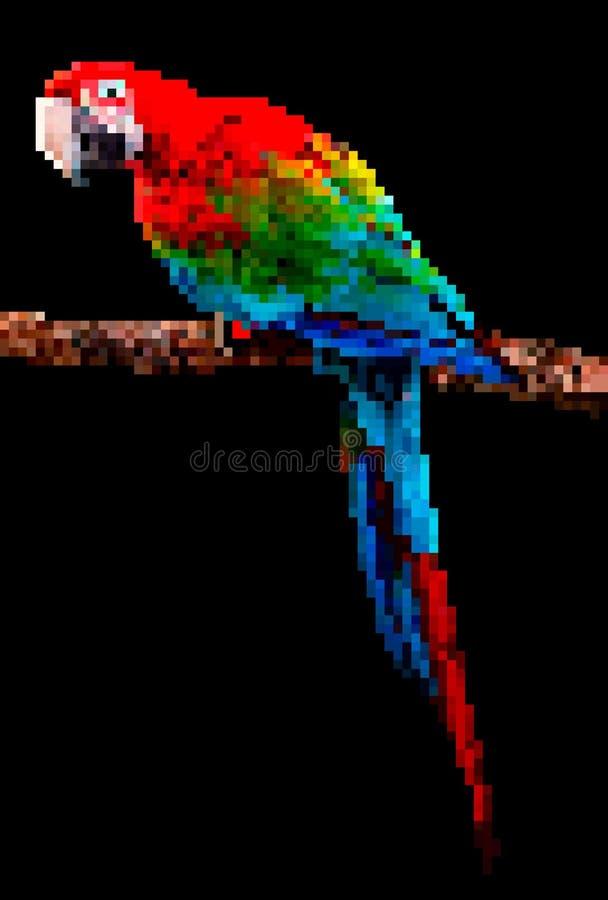 Het art. van het vogelpixel De illustratie van het papegaaipixel op zwarte achtergrond wordt geïsoleerd die vector illustratie