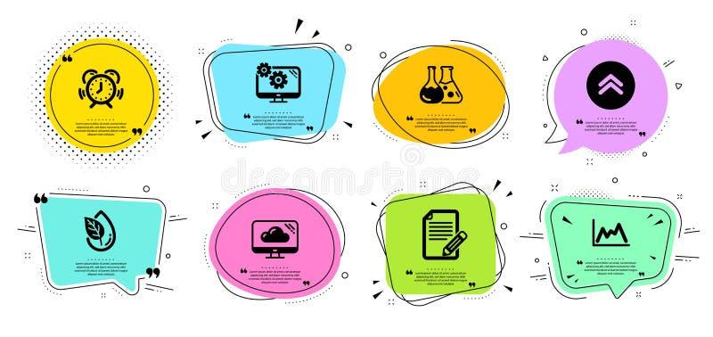 Het artikel, Diagram en jat geplaatste omhoog pictogrammen Biologisch product, Montages en de tekens van het Tijdbeheer Vector royalty-vrije illustratie