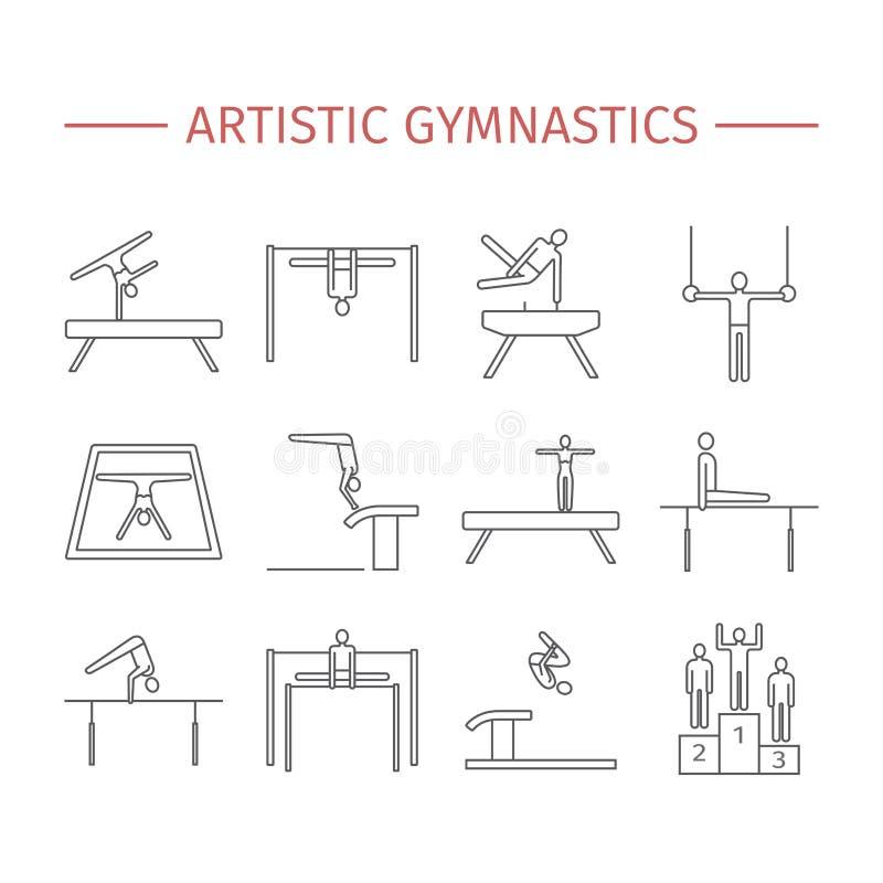 Het artistieke pictogram van de gymnastieklijn apparatuur Vectorsportentekens vector illustratie