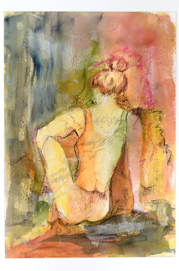Het artistieke waterverf schilderen van een bevallige vrouw royalty-vrije stock afbeelding