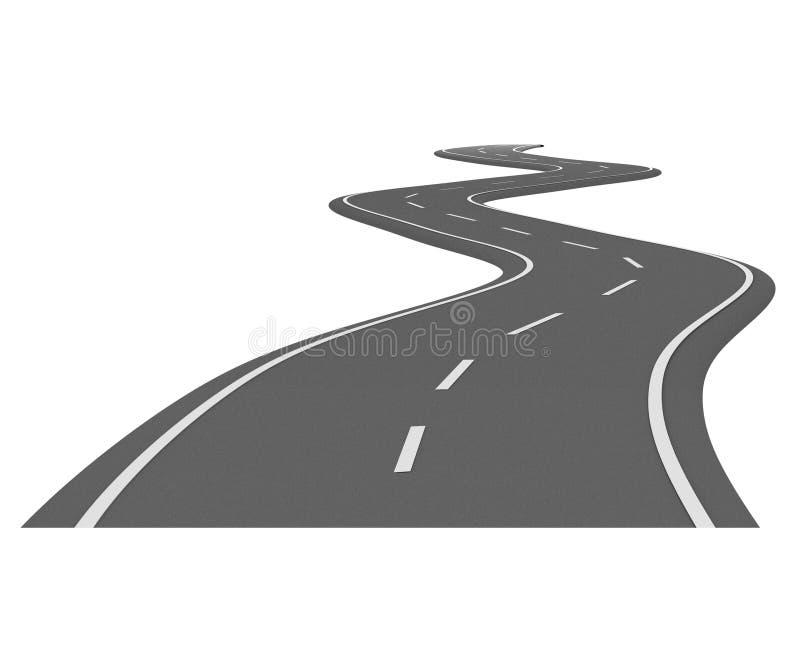 Het asfaltweg 7 van de kromme