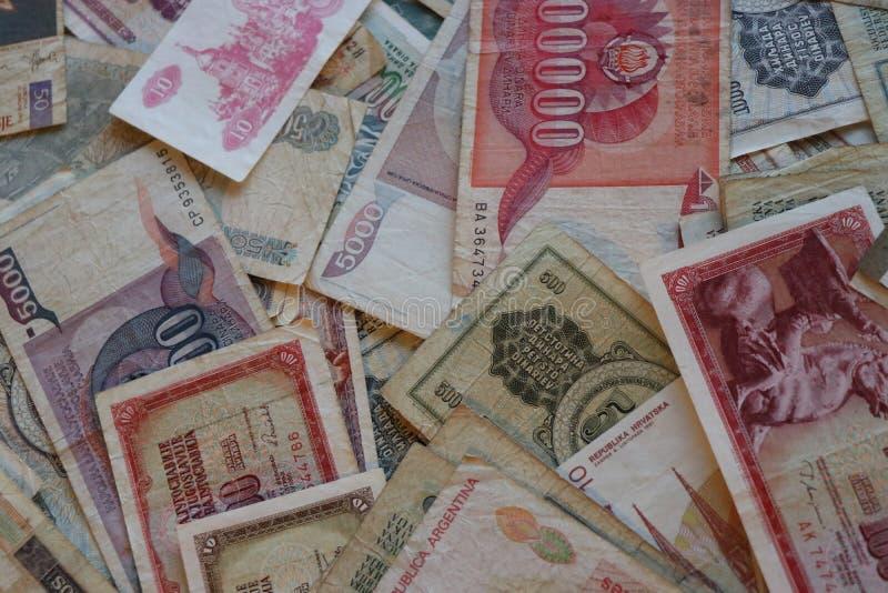 Het assortiment van wereldbankbiljetten Numismatische inzameling royalty-vrije stock afbeelding