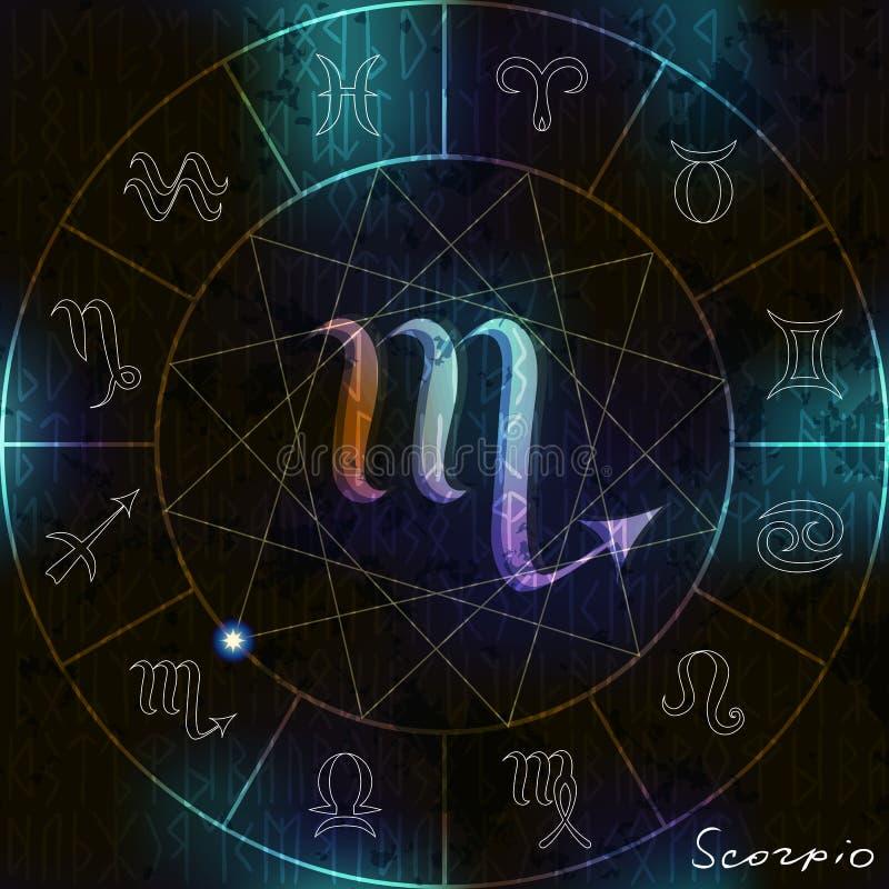 Het astrologische symbool van Schorpioen stock illustratie